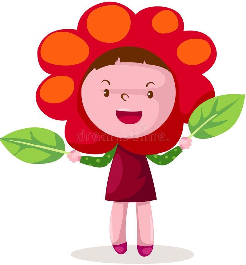 Gullig flicka i blommadräkt royaltyfri illustrationer