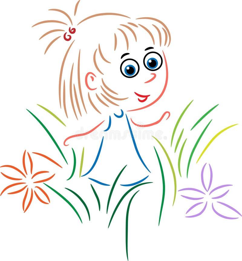 Gullig flicka i en trädgård royaltyfri illustrationer
