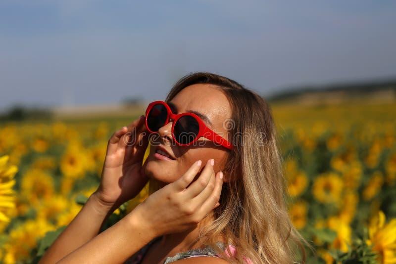 Gullig flicka i f?ltet mycket av solrosor arkivfoton
