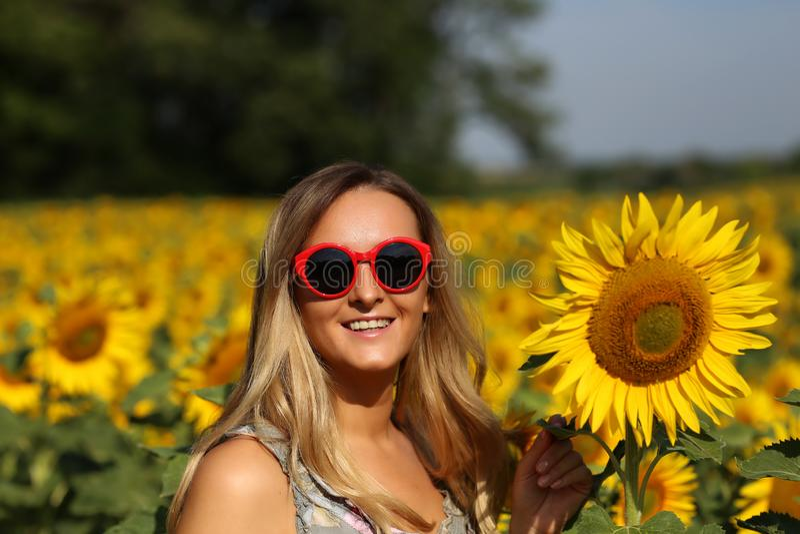 Gullig flicka i f?ltet mycket av solrosor royaltyfri bild