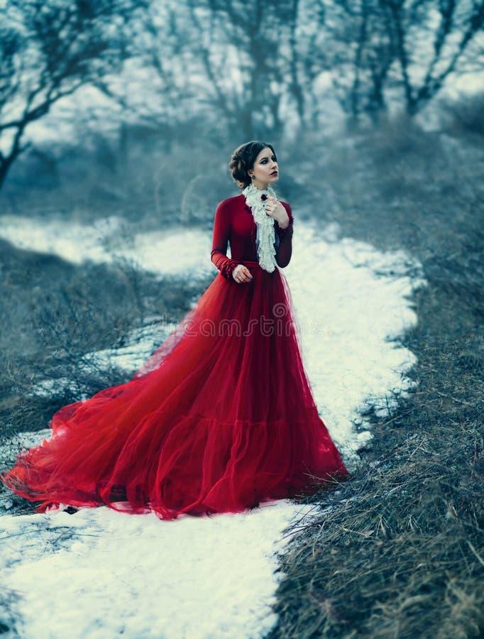 Gullig flicka i lyxig röd klänning arkivfoto