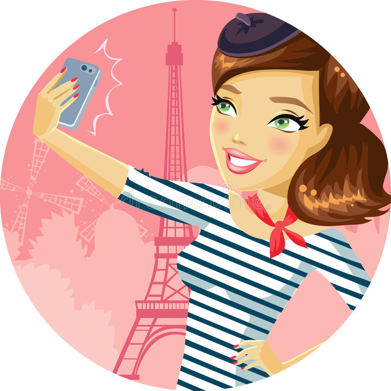 Gullig flicka i Paris royaltyfri illustrationer