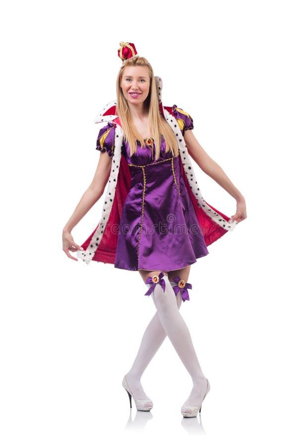 Gullig flicka i purpurfärgad maskeradklänning och krona arkivbild