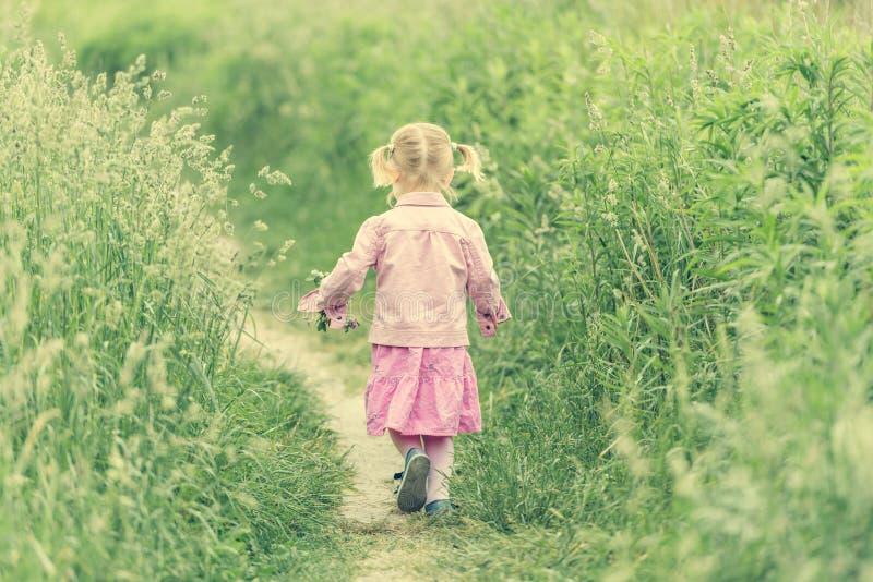 gullig flicka little äng royaltyfria bilder