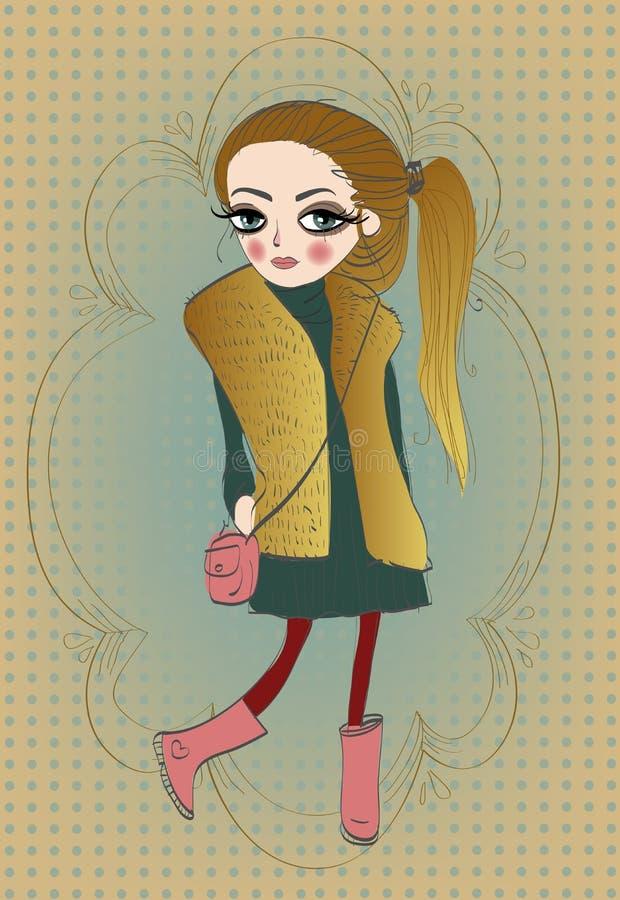 gullig flicka little stock illustrationer