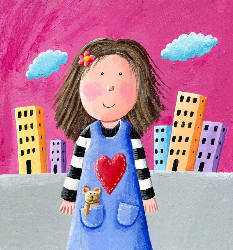 gullig flicka little royaltyfri illustrationer
