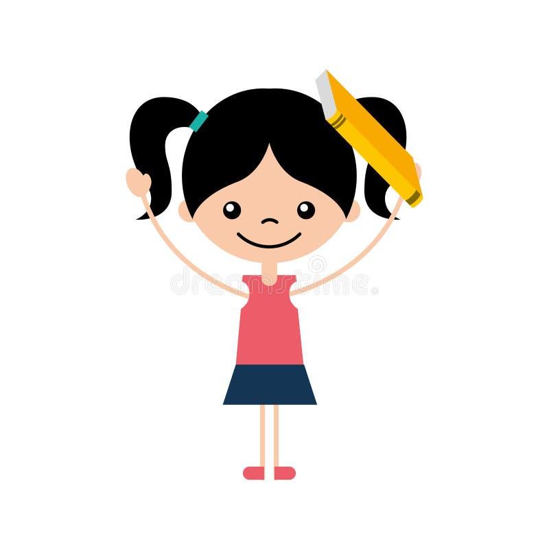 Gullig flicka med bokteckensymbolen royaltyfri illustrationer