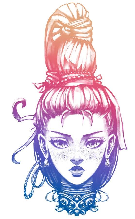 Gullig flicka med den stora flätad tråden royaltyfri illustrationer