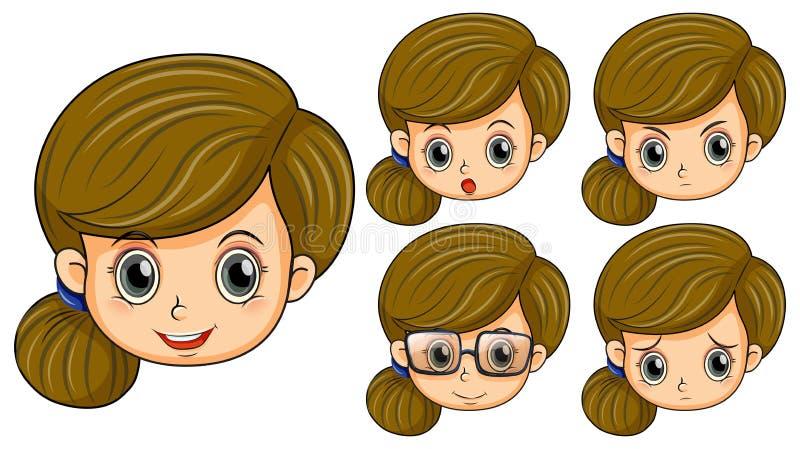 Gullig flicka med fem olika sinnesrörelser royaltyfri illustrationer