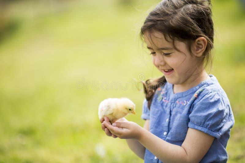 Gullig flicka med hönan royaltyfri bild