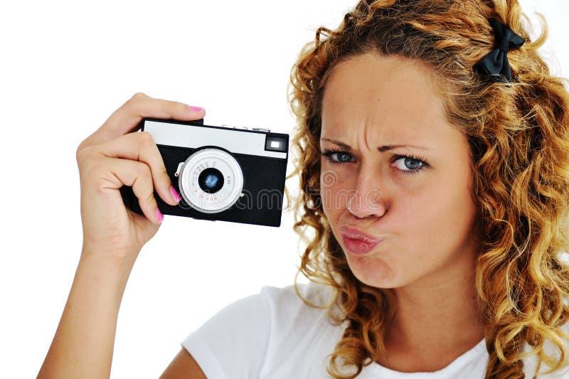 Gullig flicka med kameran arkivfoton