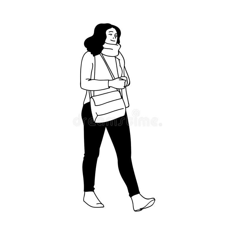 Gullig flicka med lockigt hår som går för en promenad som bort ser Monokrom vektorillustration av flickan i halsdukinnehav vektor illustrationer