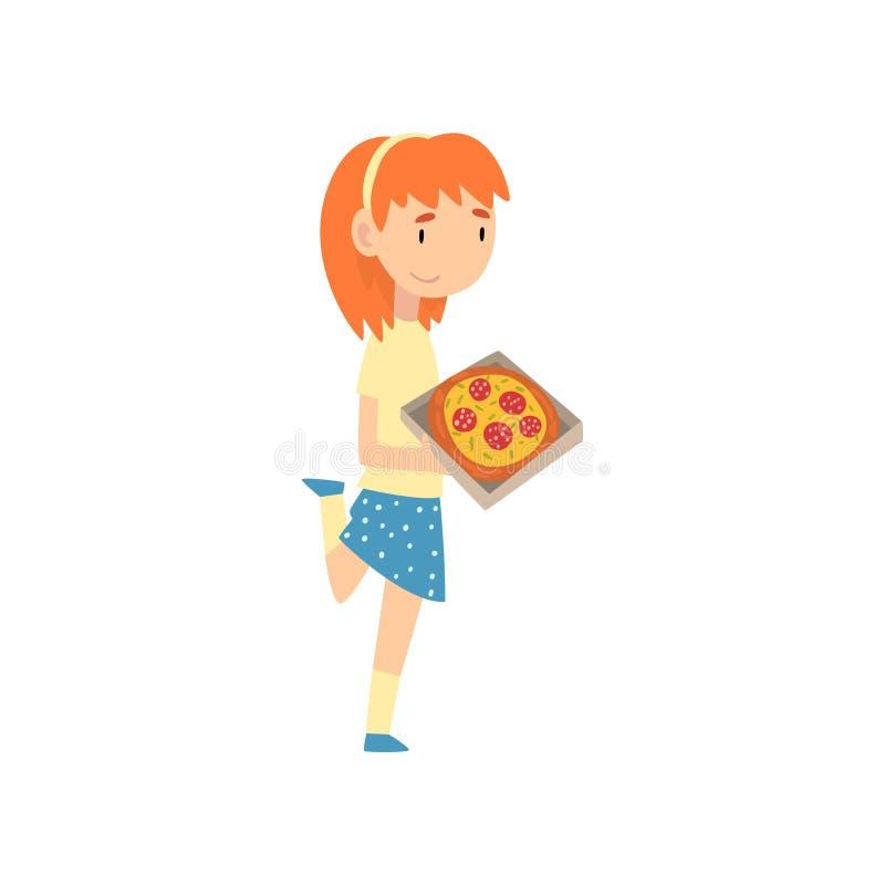 Gullig flicka med pizza, barn som tycker om att äta av snabbmatvektorillustrationen stock illustrationer