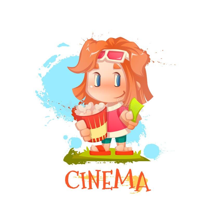 Gullig flicka med popcorn och biljetten vektor illustrationer