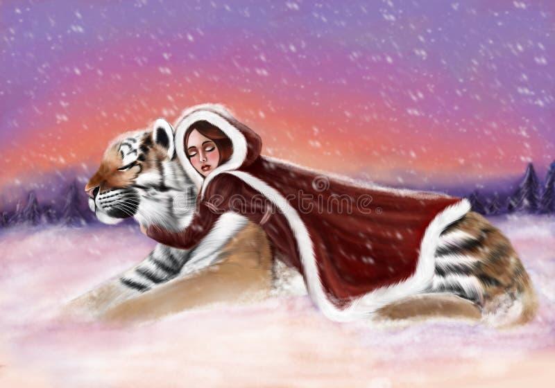 Gullig flicka med tigern royaltyfri fotografi