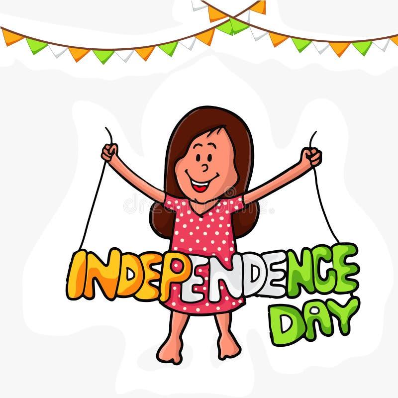 Gullig flicka med tricolor text för indisk självständighetsdagen stock illustrationer