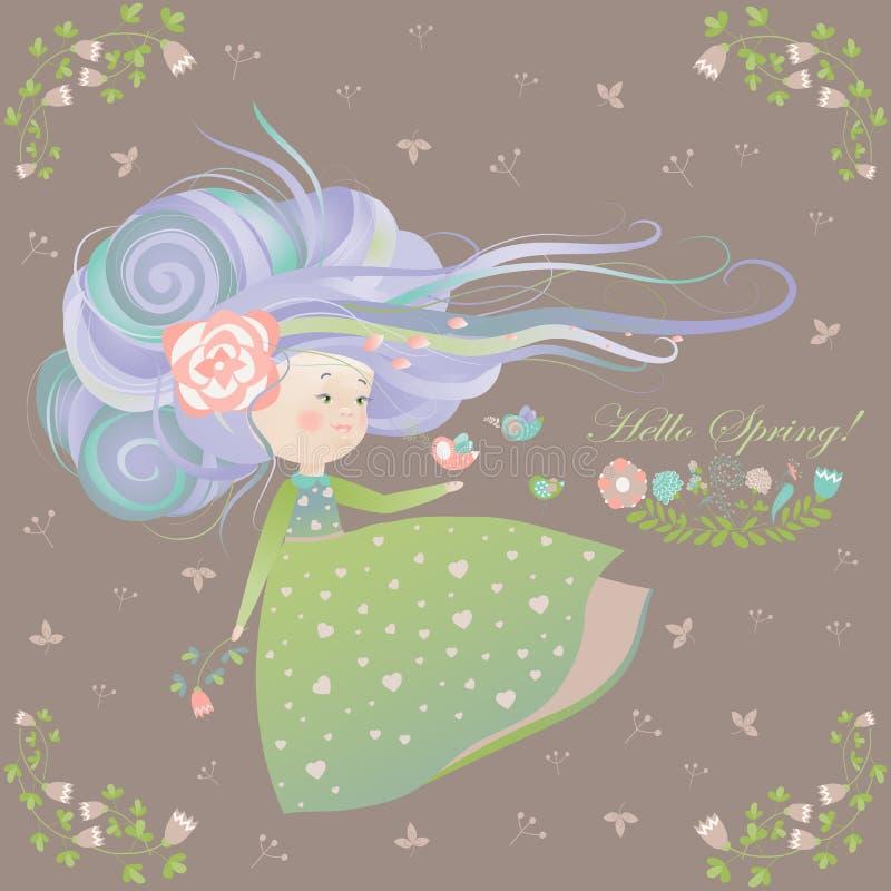 Gullig flicka med tryckning av hår vektor illustrationer