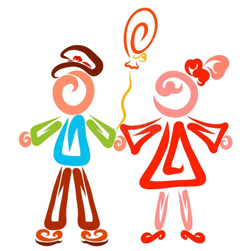 Gullig flicka och pojke med en ballong i deras händer stock illustrationer