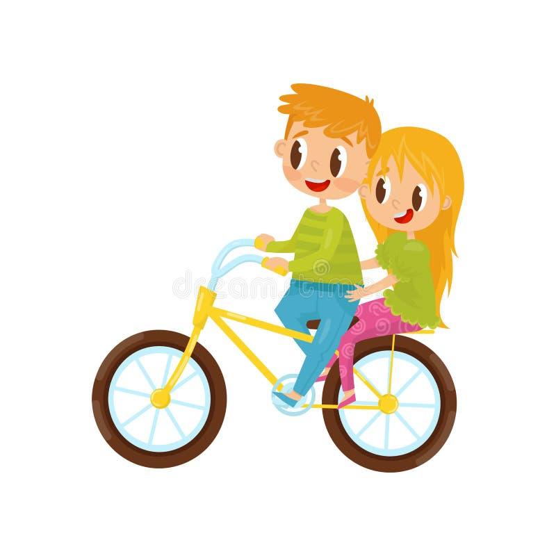 Gullig flicka- och pojkeridning på cykeln Syskongrupp som har gyckel tillsammans Gladlynta små ungar lycklig barndom plant vektor illustrationer