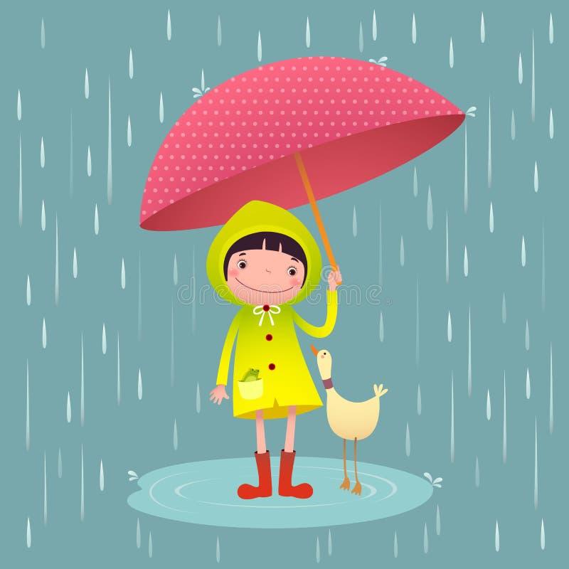 Gullig flicka och vänner med det röda paraplyet i regnig säsong royaltyfri illustrationer