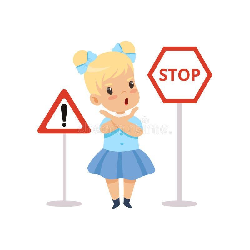 Gullig flicka och varnande vägmärken, trafikutbildning, regler, säkerhet av ungar i trafikvektorillustration vektor illustrationer