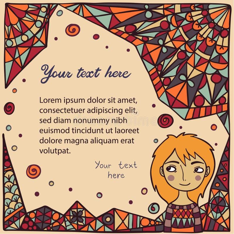 Gullig flicka på abstrakt bakgrund stock illustrationer