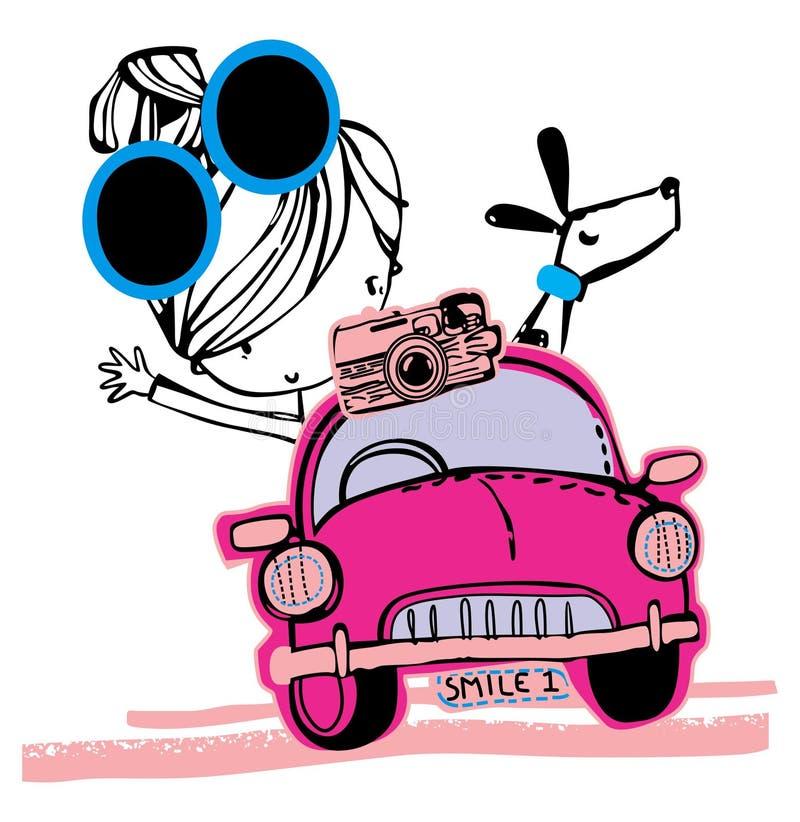 Gullig flicka på grafisk design för motorcykel royaltyfri illustrationer