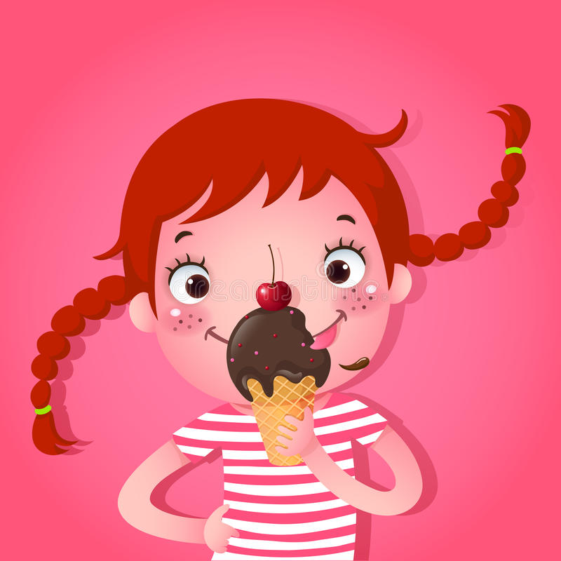 Gullig flicka som äter icecream stock illustrationer
