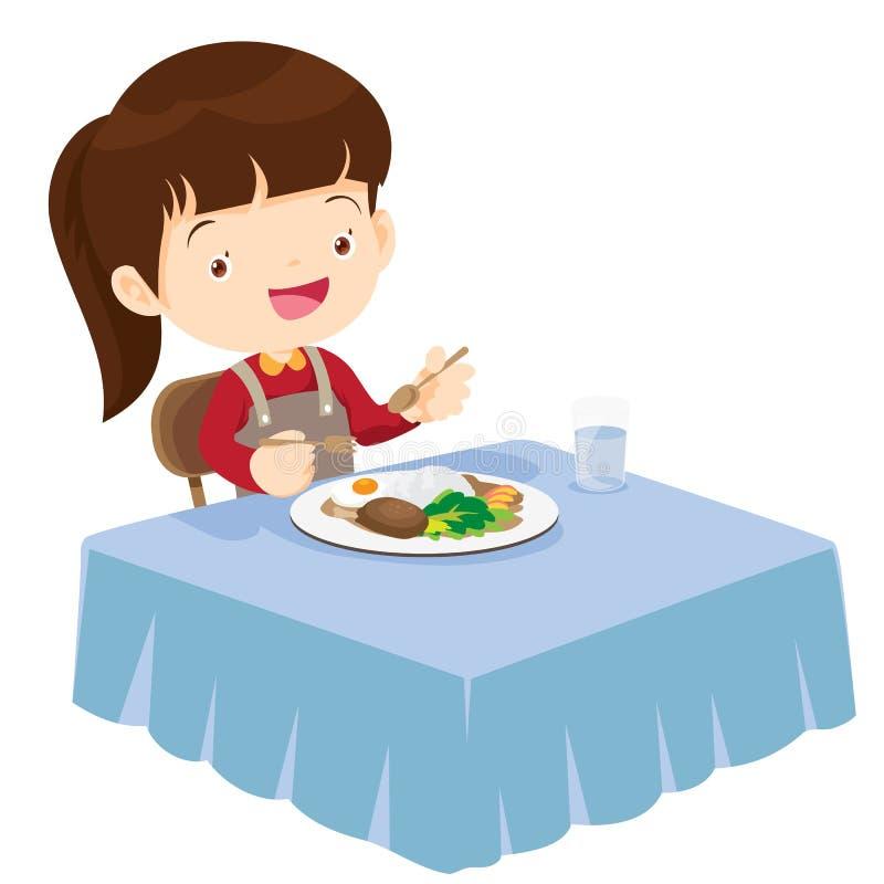 Gullig flicka som äter så lyckligt och läckert royaltyfri illustrationer