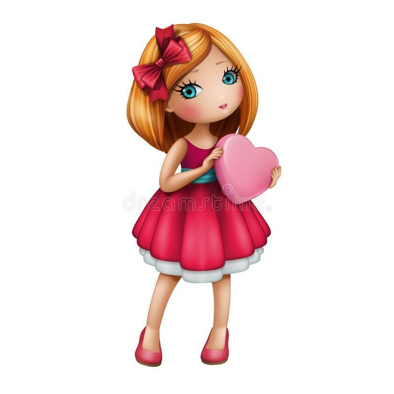 Gullig flicka som bär hållande rosa hjärta för röd klänning vektor illustrationer