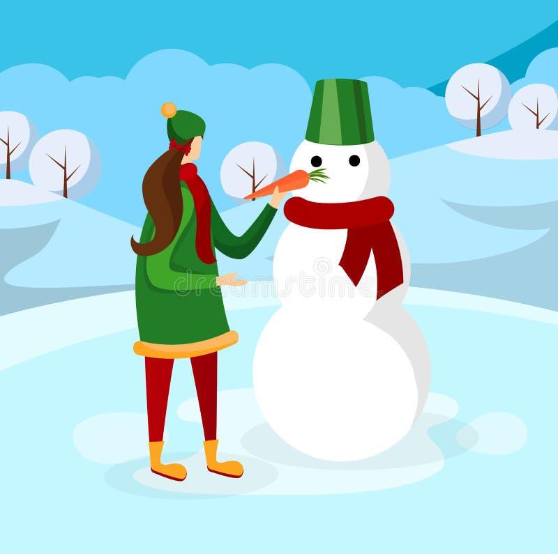 Gullig flicka som gör snögubben på vinterbakgrund royaltyfri illustrationer