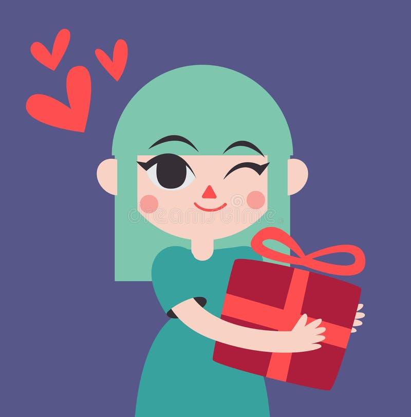Gullig flicka som rymmer en gåva stock illustrationer