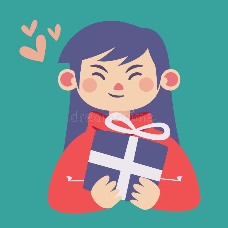 Gullig flicka som rymmer en gåva royaltyfri illustrationer