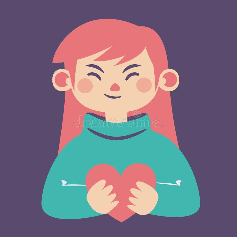Gullig flicka som rymmer en hjärta royaltyfri illustrationer