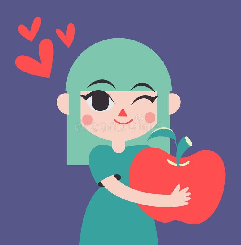 Gullig flicka som rymmer en jätte- Apple stock illustrationer