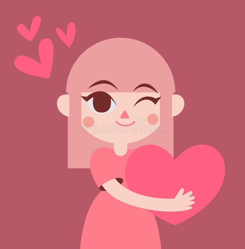 Gullig flicka som rymmer en stor hjärta royaltyfri illustrationer