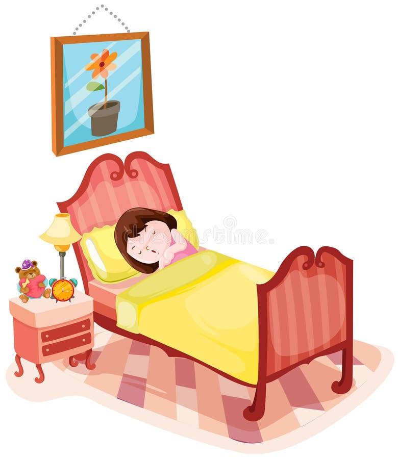 Gullig flicka som sover i säng stock illustrationer
