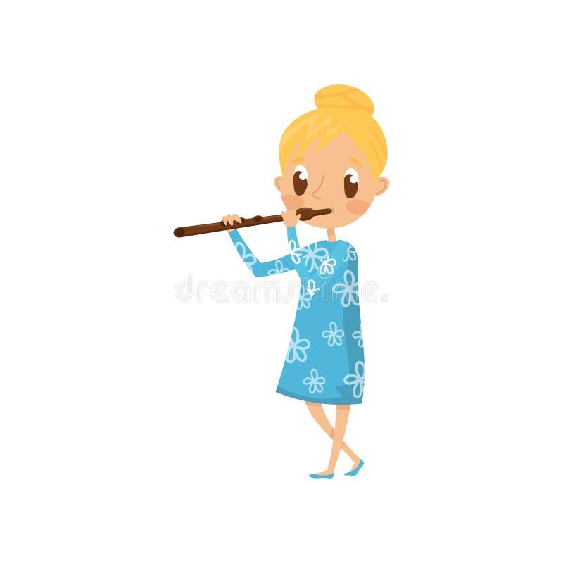 Gullig flicka som spelar flöjten, litet musikertecken med illustrationen för musikinstrumenttecknad filmvektor på en vit royaltyfri illustrationer