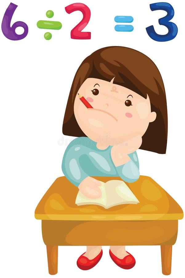 Gullig flicka som studerar matematik vektor illustrationer