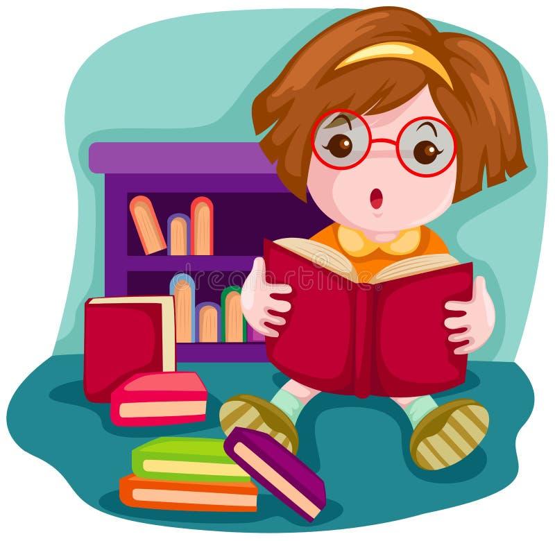 gullig flickaavläsning för bok royaltyfri illustrationer