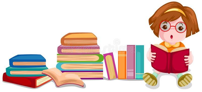 gullig flickaavläsning för bok vektor illustrationer