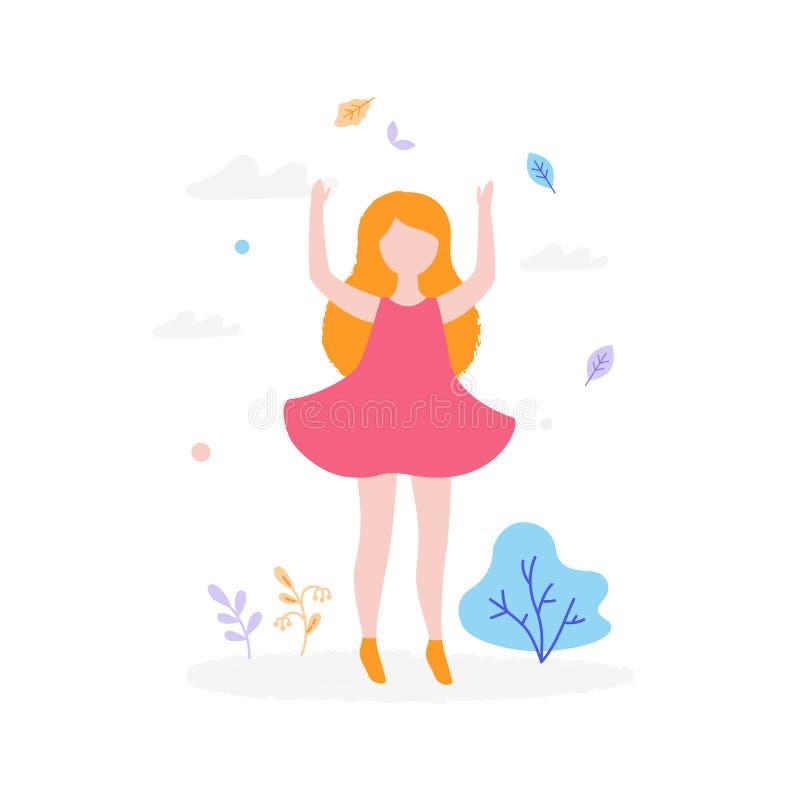 Gullig flickabanhoppning utomhus i parkera som isoleras på vit bakgrund Barnaktivitetsbegrepp, plan illustration för sommar stock illustrationer