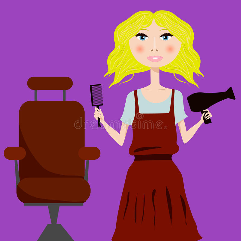 Gullig flickafrisör med hårtorken och hårborsteståenden royaltyfri illustrationer