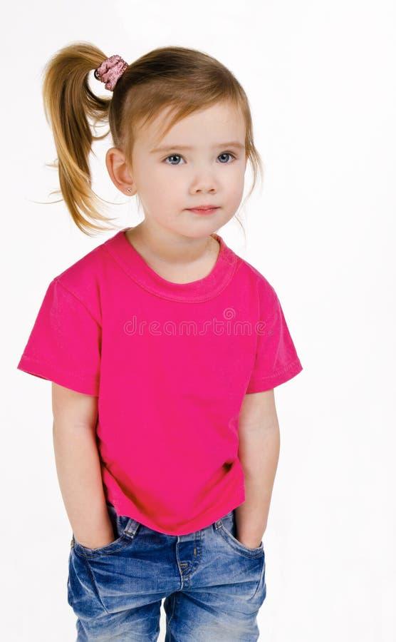 gullig flickajeans little ståendeskjorta t royaltyfri foto