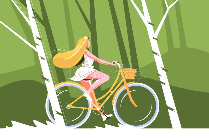 Gullig flickaridningcykel stock illustrationer
