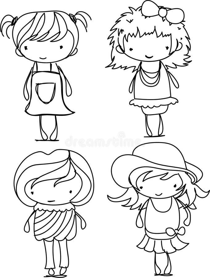 gullig flickavektor för tecknad film stock illustrationer