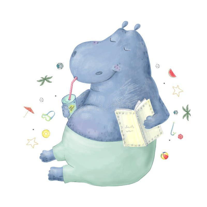 Gullig flodhäst med boken och den cocktaile vattenfärgillustrationen Djur rolig flodhäst för sommargemkonst på vit bakgrund stock illustrationer