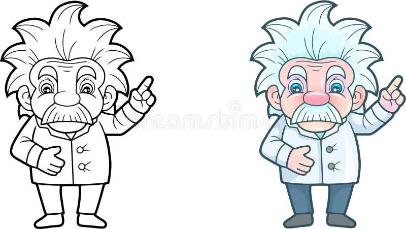 Gullig forskare, rolig illustration stock illustrationer