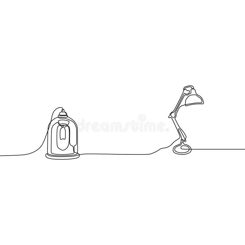 gullig fortlöpande linje vektorillustration för stearinljuslampa och för skrivbordlampa av hand-drog lampor royaltyfri illustrationer