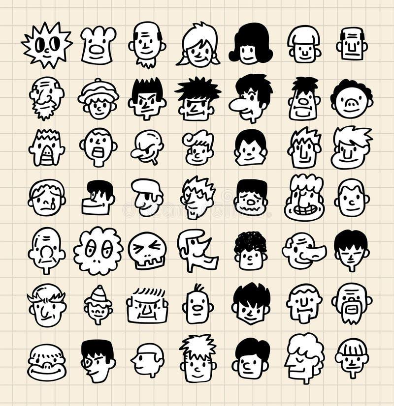 gullig framsida för tecknad film stock illustrationer